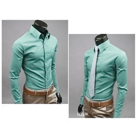 Men's Button Up Shirts - Business Shirts-shirt-Dee SuSu-Gray green-M-Dee SuSu