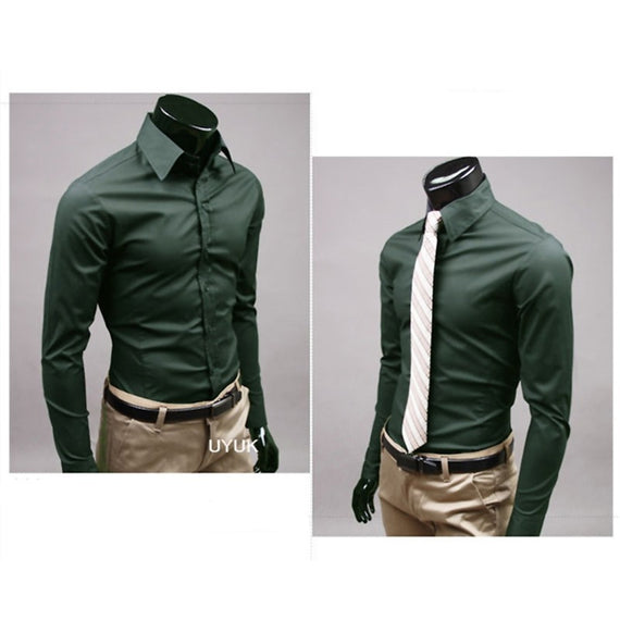 Men's Button Up Shirts - Business Shirts-shirt-Dee SuSu-Blackish green-M-Dee SuSu