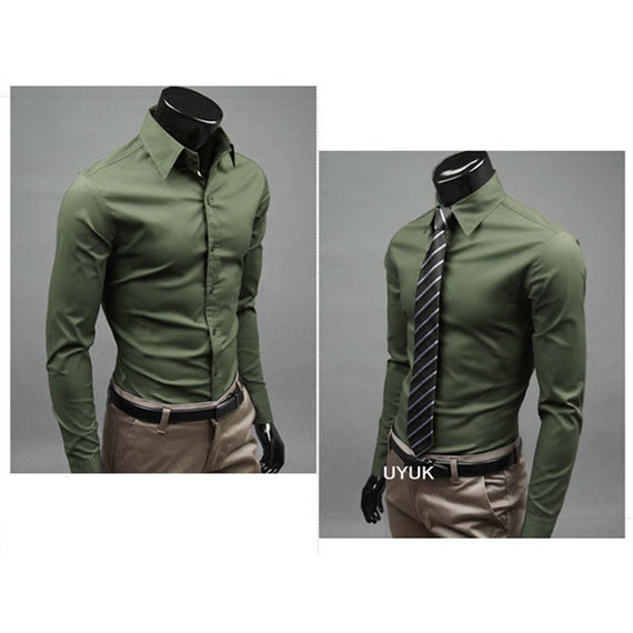 Men's Button Up Shirts - Business Shirts-shirt-Dee SuSu-ArmyGreen-M-Dee SuSu