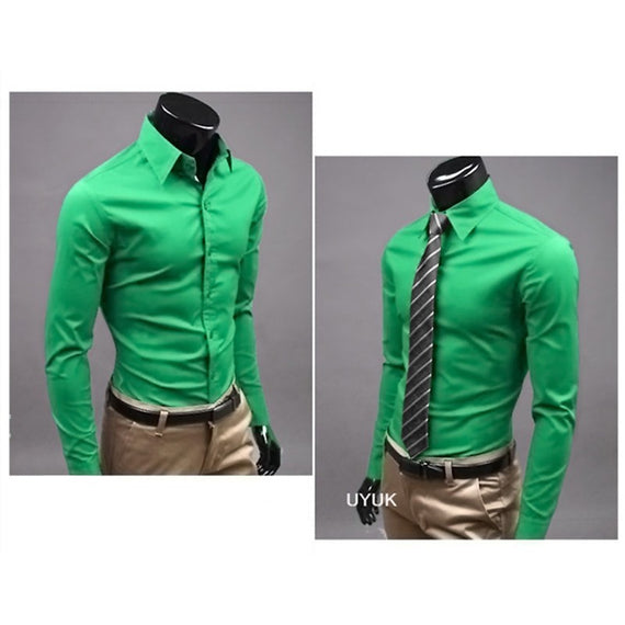 Men's Button Up Shirts - Business Shirts-shirt-Dee SuSu-Fruit green-M-Dee SuSu