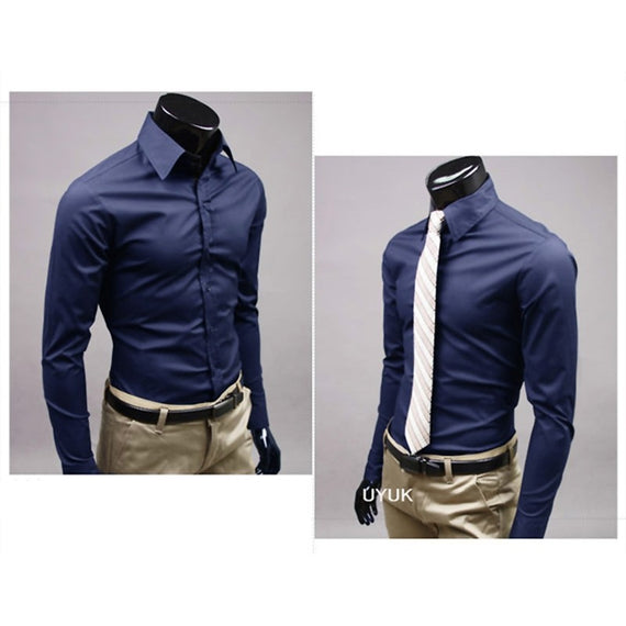 Men's Button Up Shirts - Business Shirts-shirt-Dee SuSu-Navy blue-M-Dee SuSu