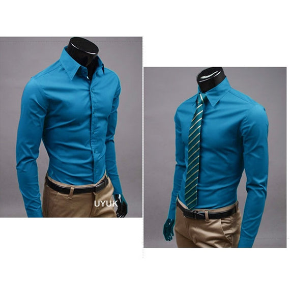 Men's Button Up Shirts - Business Shirts-shirt-Dee SuSu-Athens blue-M-Dee SuSu