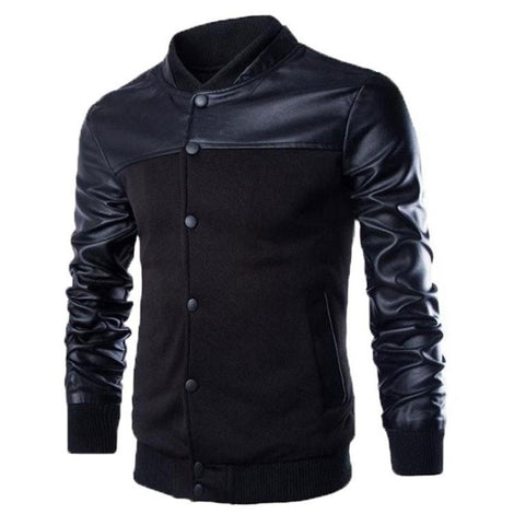 Stylish Buttoned Leather Jacket-coat-Dee SuSu-Black-M-Dee SuSu