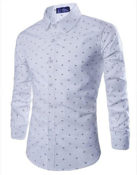Long Sleeve Anchor Print Casual Shirts-shirt-Dee SuSu-White-M-Dee SuSu
