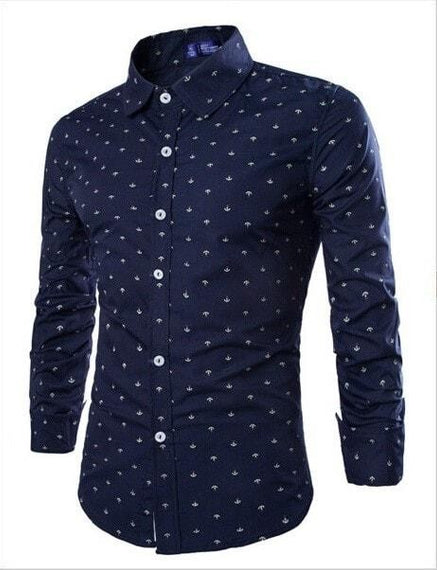 Long Sleeve Anchor Print Casual Shirts-shirt-Dee SuSu-Blue-M-Dee SuSu