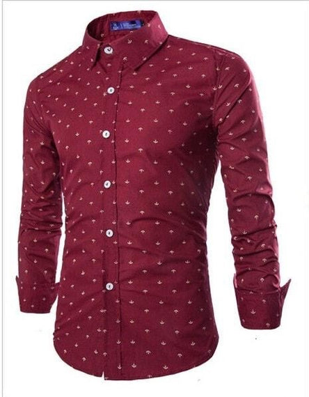 Long Sleeve Anchor Print Casual Shirts-shirt-Dee SuSu-Red-M-Dee SuSu