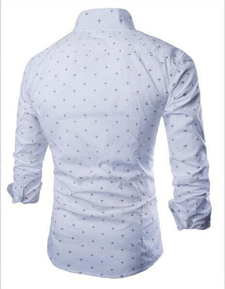 Long Sleeve Anchor Print Casual Shirts-shirt-Dee SuSu-Dee SuSu