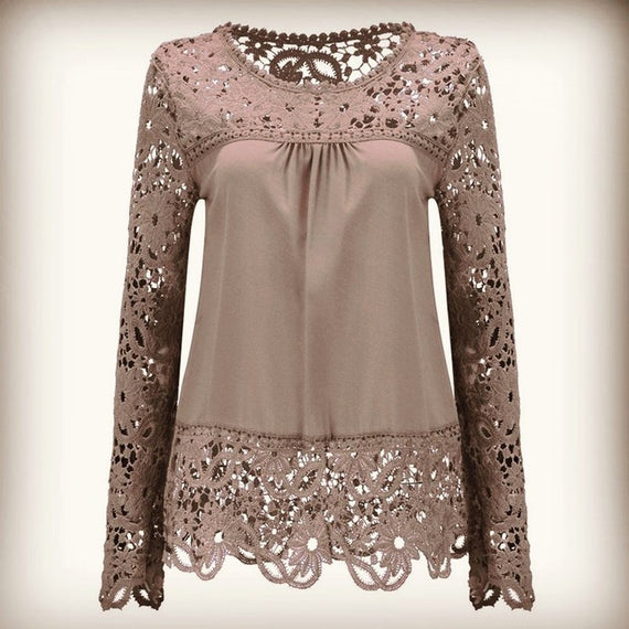 Long Sleeve Hollow Lace Chiffon Shirt-t-shirt-Dee SuSu-Khaki-S-Dee SuSu