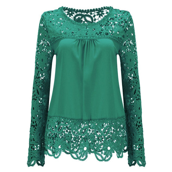 Long Sleeve Hollow Lace Chiffon Shirt-t-shirt-Dee SuSu-Green-S-Dee SuSu