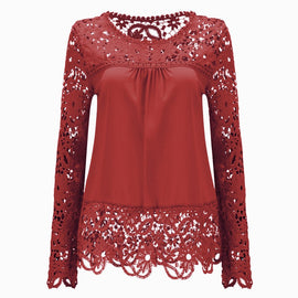 Long Sleeve Hollow Lace Chiffon Shirt-t-shirt-Dee SuSu-Rust Red-S-Dee SuSu