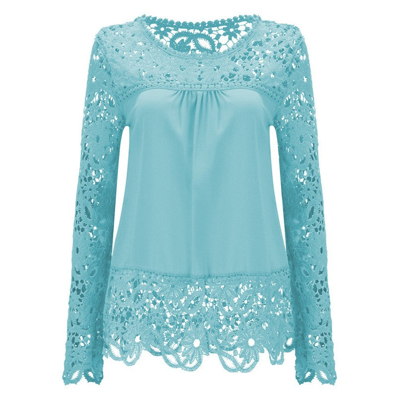 Long Sleeve Hollow Lace Chiffon Shirt-t-shirt-Dee SuSu-Mint Green-S-Dee SuSu