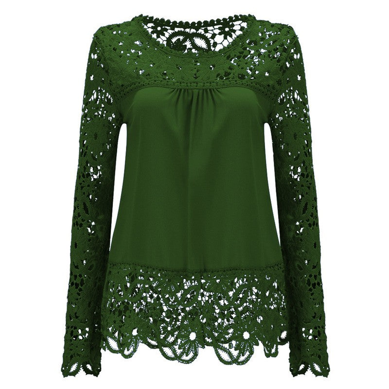 Long Sleeve Hollow Lace Chiffon Shirt-t-shirt-Dee SuSu-Olive Green-S-Dee SuSu