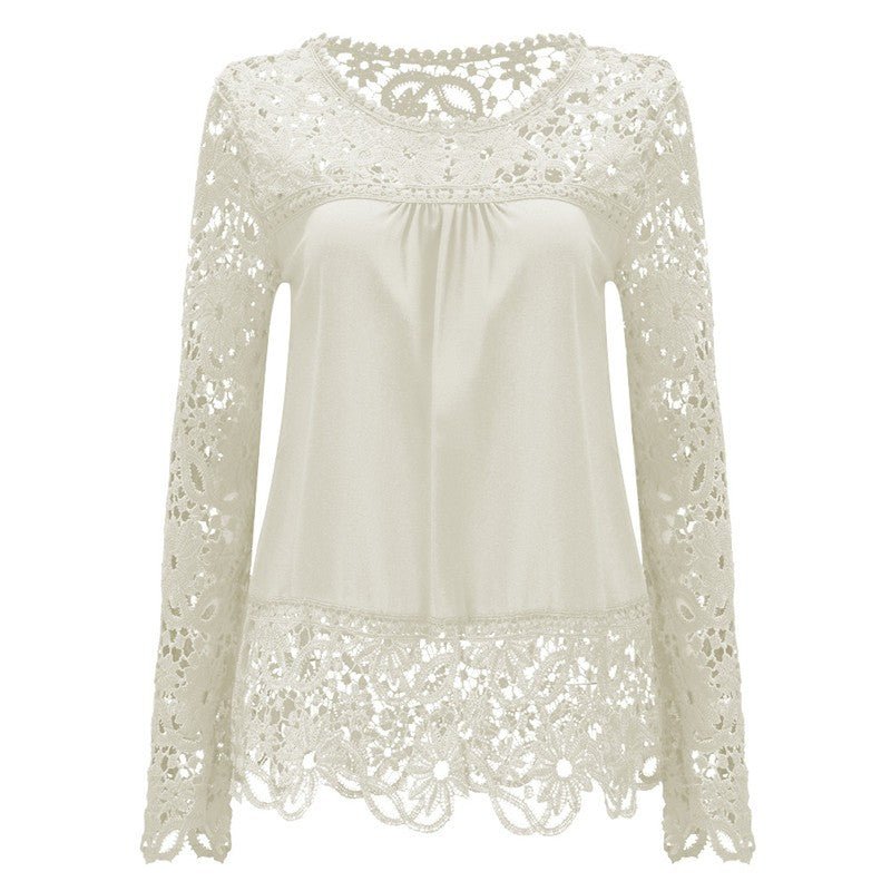 Long Sleeve Hollow Lace Chiffon Shirt-t-shirt-Dee SuSu-Cream Color-S-Dee SuSu