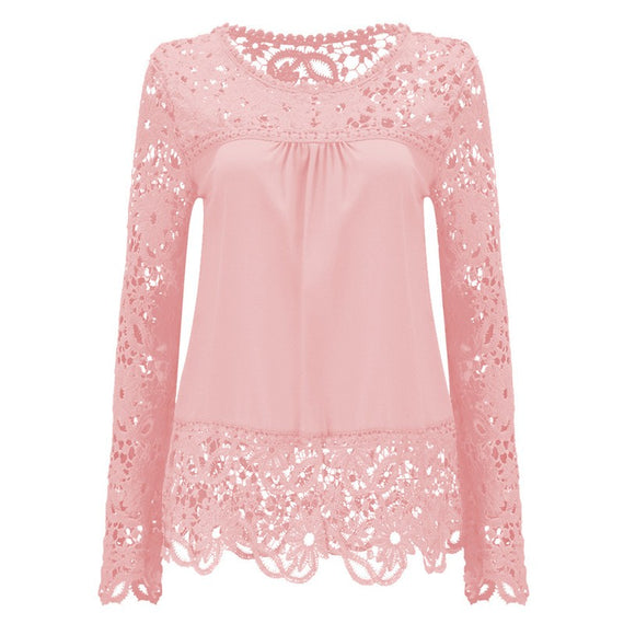 Long Sleeve Hollow Lace Chiffon Shirt-t-shirt-Dee SuSu-Dee SuSu