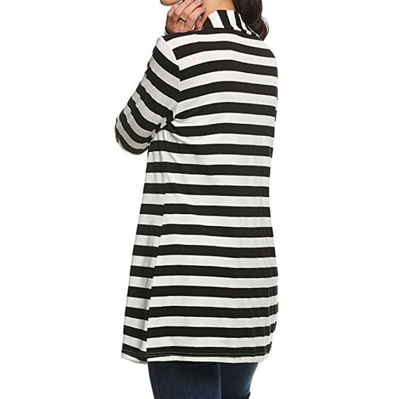 Pure Long Sleeve Striped Cardigan-coat-Dee SuSu-Black-S-Dee SuSu