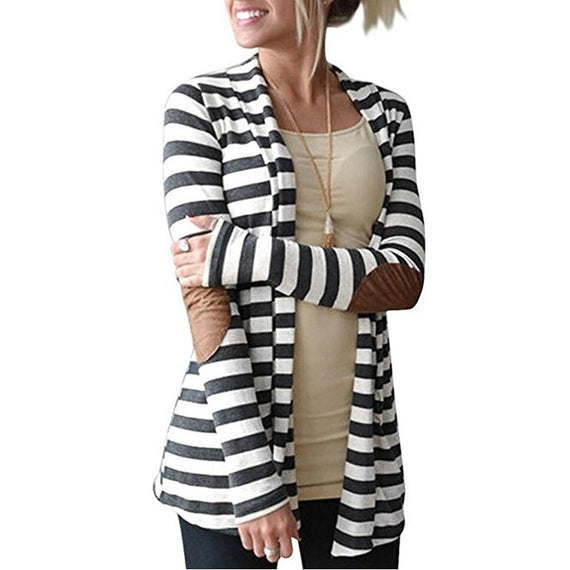 Pure Long Sleeve Striped Cardigan-coat-Dee SuSu-Dark gray-S-Dee SuSu