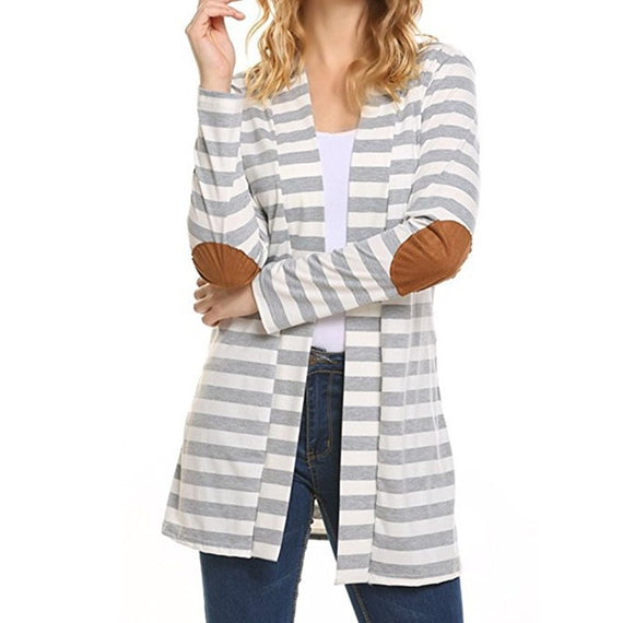 Pure Long Sleeve Striped Cardigan-coat-Dee SuSu-Light gray-S-Dee SuSu