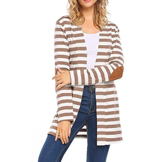 Pure Long Sleeve Striped Cardigan-coat-Dee SuSu-Camel-S-Dee SuSu