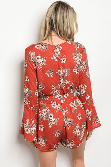 Rust With Flowers Romper-clothing-Spocket-Dee SuSu