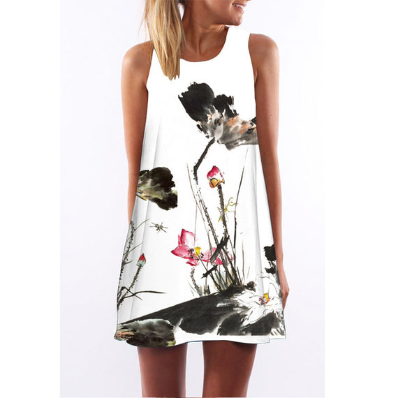 Floral Print Boho Sleeveless Flamingo Chiffon Dress