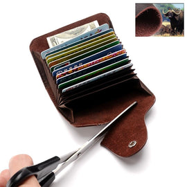 Genuine Leather Card Wallet for Men and Women