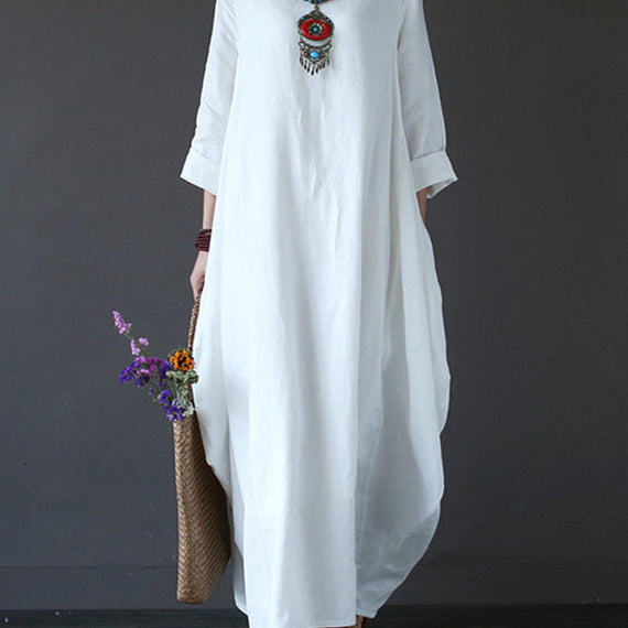 Casual Loose Pure Color Baggy Maxi Dress-Dee SuSu-White-2XL-Dee SuSu