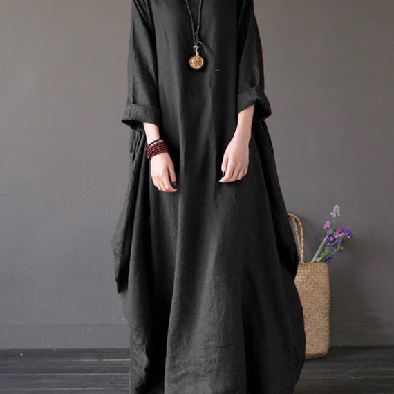 Casual Loose Pure Color Baggy Maxi Dress-Dee SuSu-Black-2XL-Dee SuSu