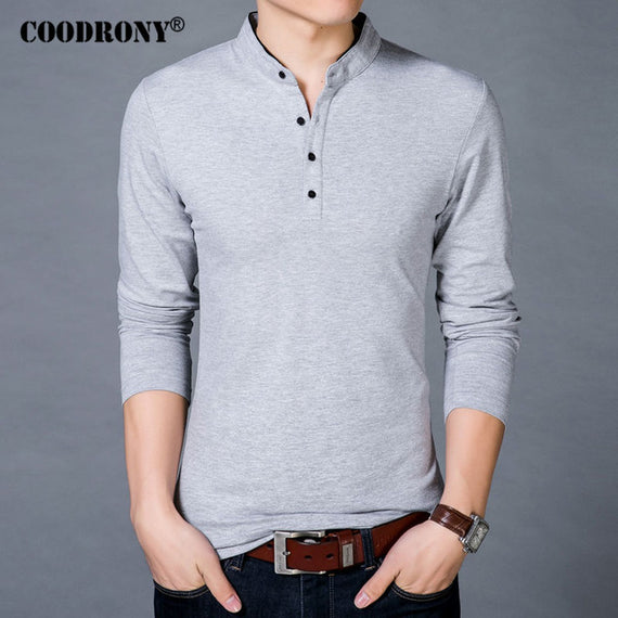 Long Sleeve Mandarin Collar T-shirt for Men-default-Dee SuSu-Gray-M-Dee SuSu