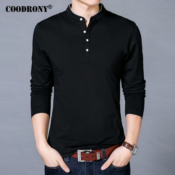 Long Sleeve Mandarin Collar T-shirt for Men-default-Dee SuSu-Black-S-Dee SuSu