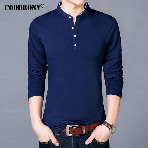 Long Sleeve Mandarin Collar T-shirt for Men-default-Dee SuSu-Blue-S-Dee SuSu