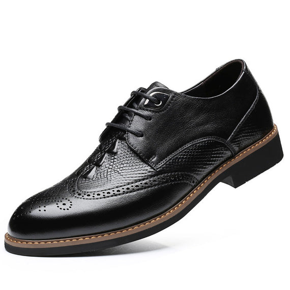 Men's Leather Lace-up Handmade Shoes-default-Dee SuSu-Black-8-Dee SuSu