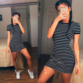 Round Neck Short-sleeved Black And White Striped Dress