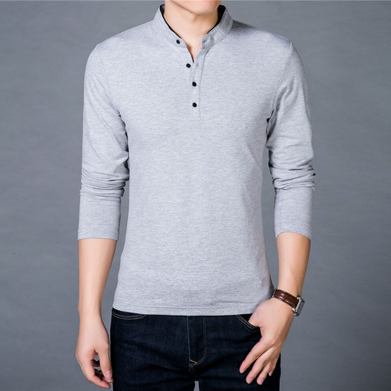 Long Sleeve Mandarin Collar T-shirt for Men-default-Dee SuSu-Dee SuSu
