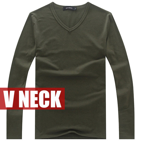 Men's long sleeve v neck slim fit t-shirt-default-Dee SuSu-V neck Army-S-Dee SuSu
