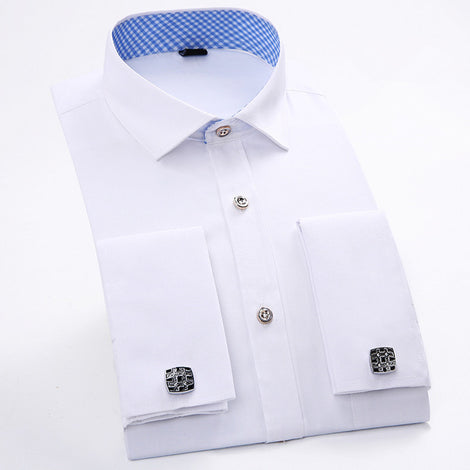 Slim Fit Long Sleeve Cufflink Shirts For Men-default-Dee SuSu-FS20-Asian size XL-Dee SuSu