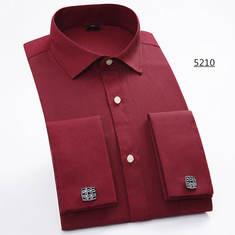 Slim Fit Long Sleeve Cufflink Shirts For Men-default-Dee SuSu-5210-Asian size M-Dee SuSu