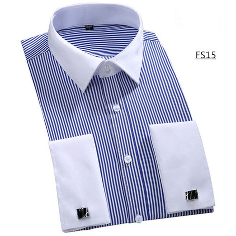 Slim Fit Long Sleeve Cufflink Shirts For Men-default-Dee SuSu-FS15 Blue stripes-Asian size 4XL-Dee SuSu