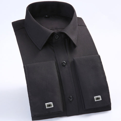 Slim Fit Long Sleeve Cufflink Shirts For Men-default-Dee SuSu-FS05 Black-Asian size M-Dee SuSu