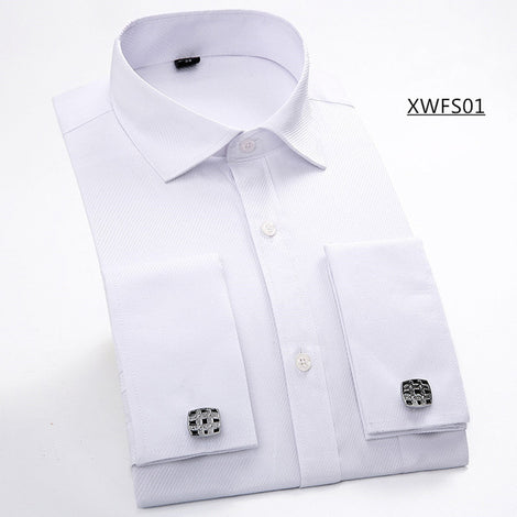Slim Fit Long Sleeve Cufflink Shirts For Men-default-Dee SuSu-XWFS01 White-Asian size XXL-Dee SuSu
