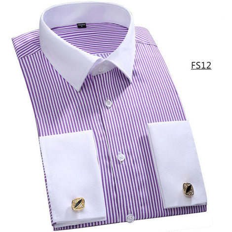 Slim Fit Long Sleeve Cufflink Shirts For Men-default-Dee SuSu-FS12 Purple stripes-Asian size 4XL-Dee SuSu