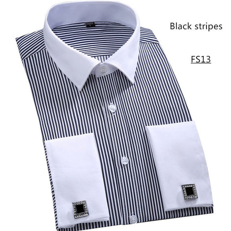 Slim Fit Long Sleeve Cufflink Shirts For Men-default-Dee SuSu-FS13 Black stripes-Asian size L-Dee SuSu