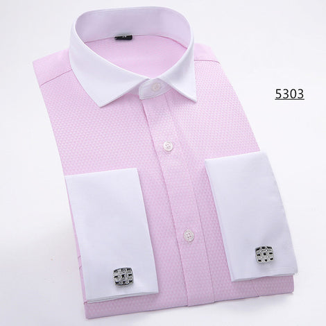 Slim Fit Long Sleeve Cufflink Shirts For Men-default-Dee SuSu-5303-Asian size M-Dee SuSu