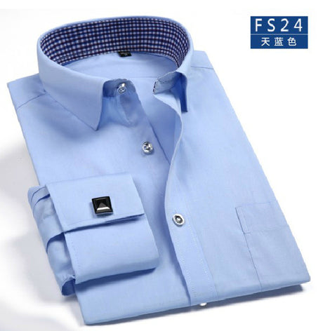 Slim Fit Long Sleeve Cufflink Shirts For Men-default-Dee SuSu-FS24-Asian size S-Dee SuSu