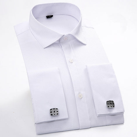 Slim Fit Long Sleeve Cufflink Shirts For Men-default-Dee SuSu-Dee SuSu