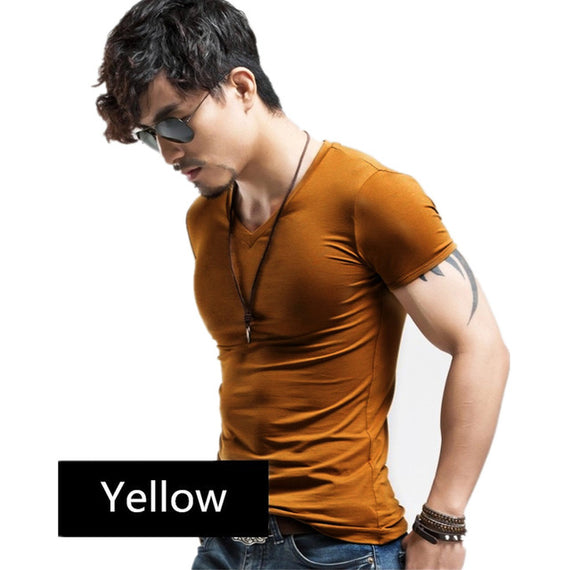 Casual short-sleeved t-shirt-default-Dee SuSu-V Yellow-S-Dee SuSu
