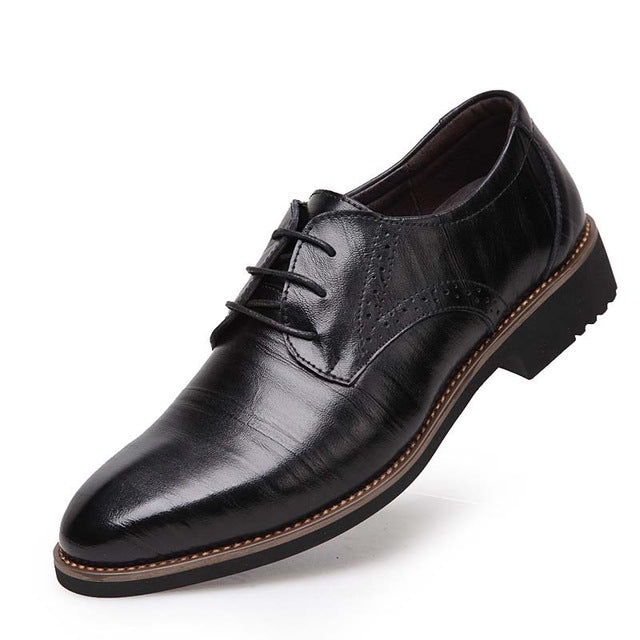 Men's Flats Comfortable Lace- up Business Wedding Shoes-default-Dee SuSu-black-7-Dee SuSu