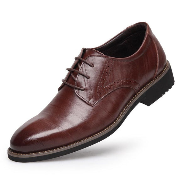 Men's Flats Comfortable Lace- up Business Wedding Shoes-default-Dee SuSu-Brown-7.5-Dee SuSu