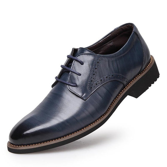 Men's Flats Comfortable Lace- up Business Wedding Shoes-default-Dee SuSu-Blue-10.5-Dee SuSu