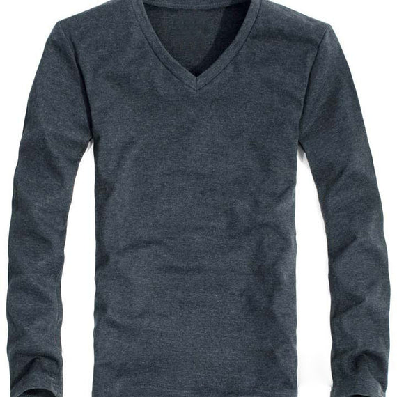 Men's long sleeve v neck slim fit t-shirt-default-Dee SuSu-Dee SuSu
