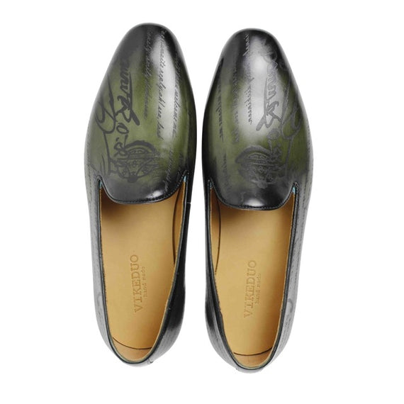 Man's Handmade leather Loafers-default-Dee SuSu-green-6-Dee SuSu